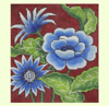 Blue Floral on Red needlepoint